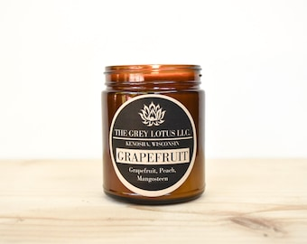 Grapefruit Candle || Hand Poured || Organic Soy Wax // Amber Glass Jar