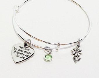 Sister in Law, Sister in Law Gift, Sister in Law Bracelet, Gift for Sister In Law, Sister in Law, Adjustable Bangle Bracelet, In Law Gifts