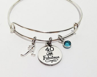 40th Birthday, 40th Birthday Party, 40th Birthday Gifts for Women, Adjustable Bracelet, Over the Hill Gift, 40th Birthday, 40 and Fabulous