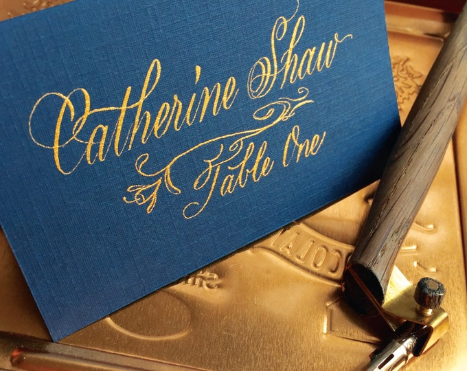 THE Astor Font Tented Linen Place Cards
