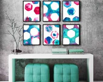 abstract art giclee art prints, abstract art, set of 6, watercolour print, abstract art decor