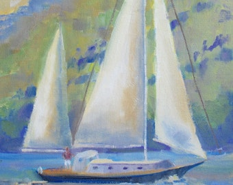 Small Painting, Sailing, Sailboat, Small Oil painting, Gift for Him, Original Oil on canvas, Nautical Wall Art, Oil Art, modern Sue Whitney