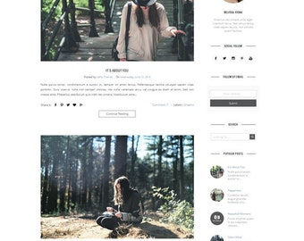 Premade Blogger Template - Responsive Clean Minimalist - Blogspot theme