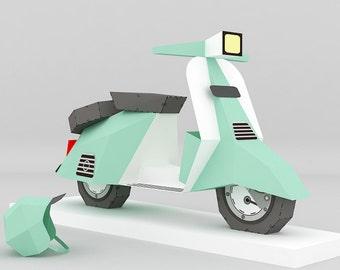 DIY Paper Scooter, papercraft, 3d paper model, Instant digital download, pdf, vintage, classic, replica, tabletop, miniature, paper toy, 3d
