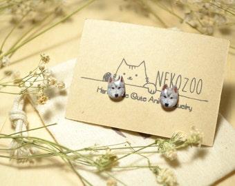 Grey Husky Dog earrings handmade Tiny Jewelry with linen cotton bag