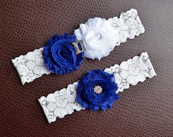 Duke Blue Devils Wedding Garter Set, Duke Blue Devils Bridal Garter Set, White Lace Garter, Duke Garter, Blue Devils Garter, Duke University