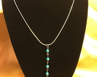 Y Necklace with turquoise beads & cross