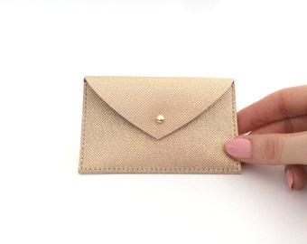 Leather Card Holder Leather Card Case Envelope Wallet Leather Credit Card holder Business Card Case ID Wallet Minimal Rose Gold Holder.Pulpo