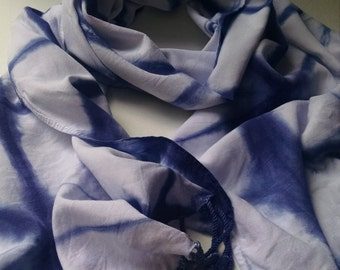 Hand Dyed Navy Blue Scarf, Navy and White Scarf, Blue Scarf