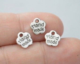 15 Pcs Hand made Charms Antique Silver Tone 8x8mm - YD1007