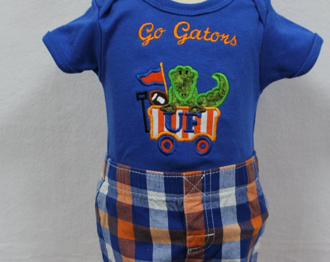 Florida Gator baby boy bodysuit,  UF Gator baby outfit, University of Florida, Florida Gators,Gator boy shorts,Personalized Gator boy shirt