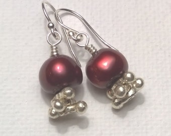 Big Red Freshwater Pearl and Sterling Silver Earrings, Dangle, Wire Wrap, Hill Tribe Silver