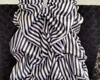 Black and White Striped Ruffled Chair Cover, Black and White Striped Chair Cover, Ruffled Chair Cover with a Bustle,