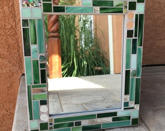 Stained Glass Mosaic Mirror or Picture Frame, Mosaic Mirror, Shades of Green