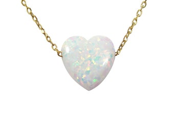 Opal Heart Necklace Sterling silver Chain White Pendant Fashion Women's Jewelry Gift