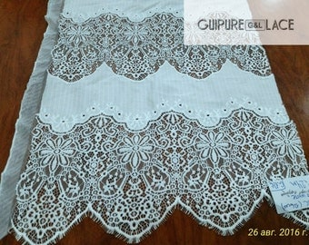 Ivory lace fabric by the yard, Spanish Lace, Alencon Lace, Bridal lace, Wedding Lace,  Veil lace, Embroidered lace, Lingerie Lace