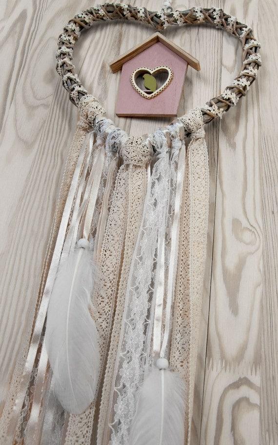 mariage d cor blanc beige coeur dentelle dreamcatcher shabby. Black Bedroom Furniture Sets. Home Design Ideas