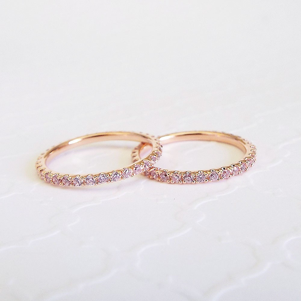 Pink Sapphire 1.5 mm Full Eternity Band Cubic Zirconia CZ Micro Pave thin Stacking Band Rose Gold 1.5 mm thin sapphire wedding ring