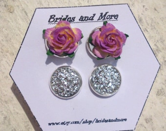 Purple Rose Studs Faux Druzy Earrings Gift Set 2 Pairs Wedding Earrings Will You Be My Bridesmaid Gift Bridesmaid Earrings Flower Girl Gift