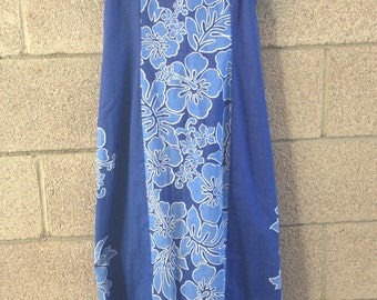 Vintage Blue Hawaiian Dress with Puff Sleeves