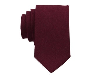 Maroon Linen Ties. Mens Tie. Solid Maroon Skinny Tie.Wedding Necktie.Standard or Extra Long