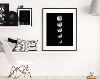 Moon Phases, Moon, Moon Art, Moon Print, Moon Wall Decor, Moon Wall Art, Moon Poster, Moon Wall Hanging, Lunar Phase, Moon Cycle