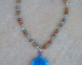Peruvian Agate Pendant Statement Necklace, Blue Ocean Jasper, Boho Necklace, Boho Jewelry, Beaded Necklace