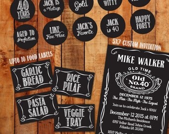 Jack Daniels Birthday party package invitation Cupcake Toppers Food Tags Water Bottle Labels 40th Birthday Decoration 30 50th 60th 70th 80th