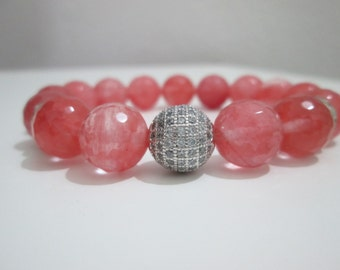 Watermelon tourmaline, bracelet semi-precious stones, faceted watermelon tourmaline, Micropve silver, cubic zirconium, bracelet woman