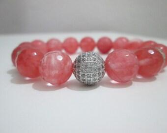 Watermelon tourmaline, bracelet semi-precious stones, faceted watermelon tourmaline, Micropve silver, cubic zirconium, bracelet woman