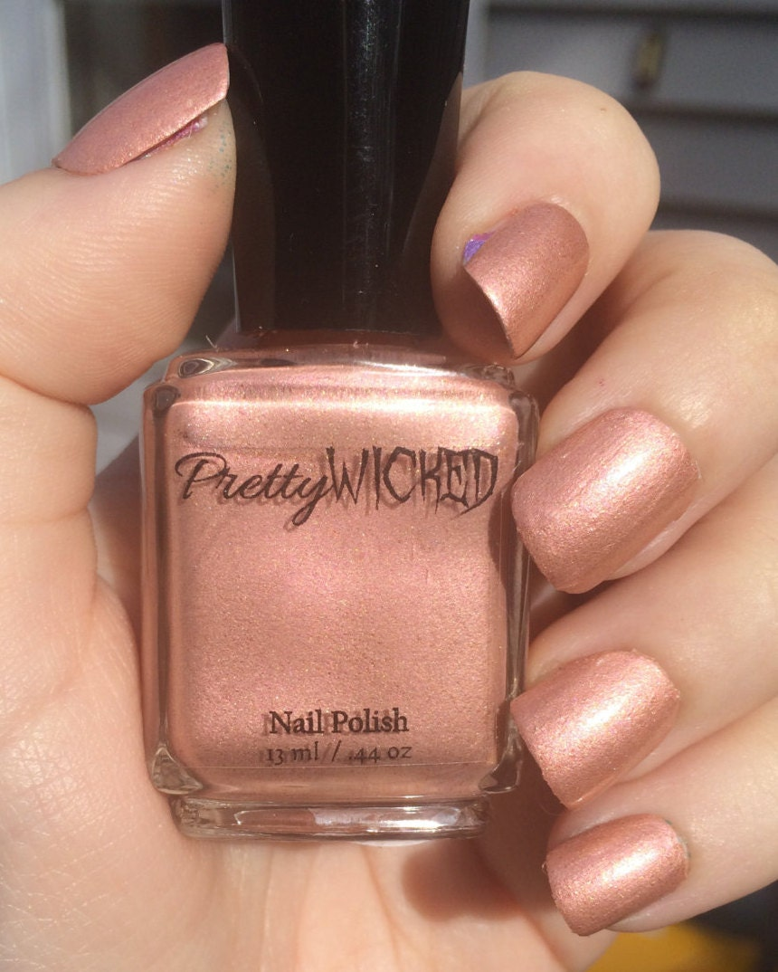 rose gold nail polish - millie polish - rose gold - pink and gold