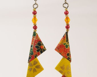 Origami 'African Trio red and gold' triangle earrings