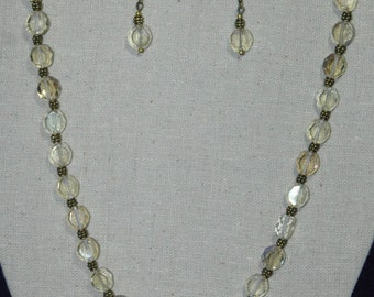 Handmade Clear Glass Beaded Necklace with Matching Earring Set