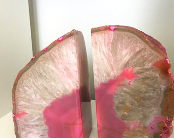 Pair of Hot Pink Fuchsia Agate Geode Polished Bookends
