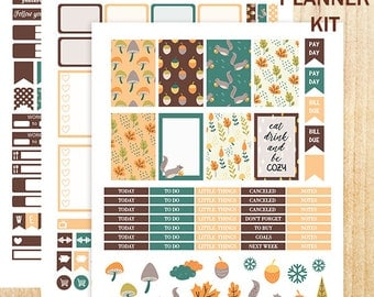 Printable Stickers, Happy Planner Stickers, MAMBI Woodland Stickers, November Stickers, November Sticker Kit, Fall Stickers, Winter Stickers
