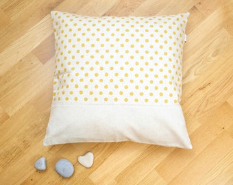 Unbleached Cushion cover to yellow peas.