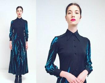 Vtg 70s Black Collar Abstract Stripes Blue Print Maxi Button Down Dress