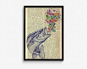 Fish and Butterfly Dictionary Pages, Butterfly Art Print, Sealife Home Decor, Dictionary Paper Print