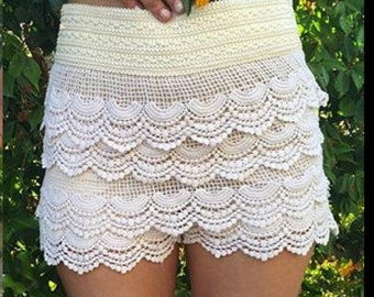 Ivory & white crocheted high waisted shorts