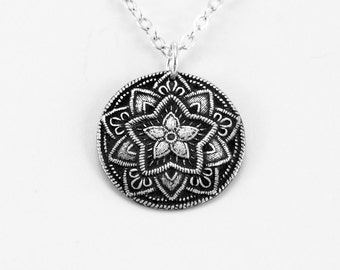 Star Necklace, Silver Bohemian Jewelry, Boho Jewelry, Silver Jewelry Silver Star Necklace Embroidered Star Pendant-Antique Star Gift For Her