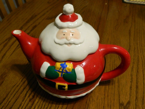 A santa claus tea pothand crafted christmas