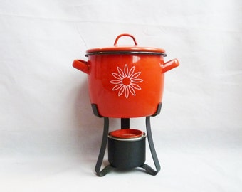 60s Small Portable Cooking Pot - Red Orange Enamel - Sterno Country Cookery - Vintage 1960s