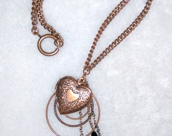 Copper chain locket necklace with black beads