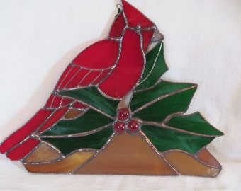 red cardinal, holly, jewel berries, holiday decor, Christmas, Winter, sun catcher,  gift, bird-lover, nature-lover,