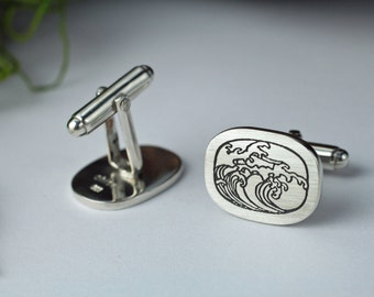 Sterling silver cuff links - Etched cuff links - Ocean cuff links - Wave cuff links - Water cuff links - Surf cuff links