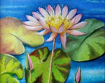 """Oil Painting Flowers - Pink Water Lily - Pink Lotus Oil Painting Landscape Art Original Painting On Canvas """"8 x 10"""" (20cm x 25cm)"""