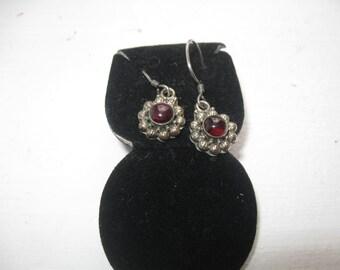 Vintage .925 Sterling Silver Earrings With Garnets Pierced