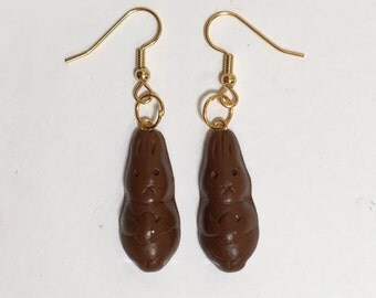 Chocolate Bunny Earrings, Easter Jewelry, Festive Holiday Jewelry, Easter Eggs, Chocolate Earrings, Hypoallergenic, Surgical Steel