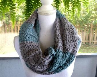 Gray Green Soft Wide Bamboo Yarn Scarf ~ Crochet Knit Infinity Circle Scarf Scood Cowl ~ Fall Winter Scarf ~ Boho Trendy Hippie