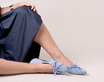 Blue shoes, Blue ballerina flats, Leather shoes, Handmade shoes, Flat shoes, Ballet flats, Women's shoes, Ballerina shoes